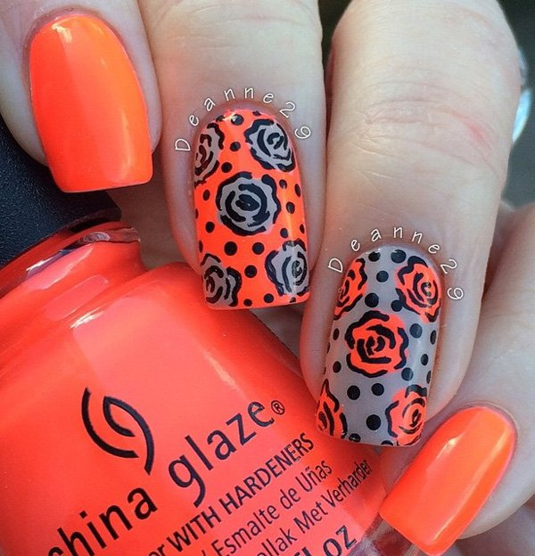 Orange And Grey Rose Flowers Nail Art