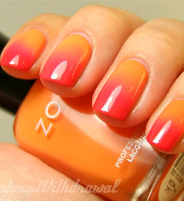 Orange And Pink Gradient Nail Art