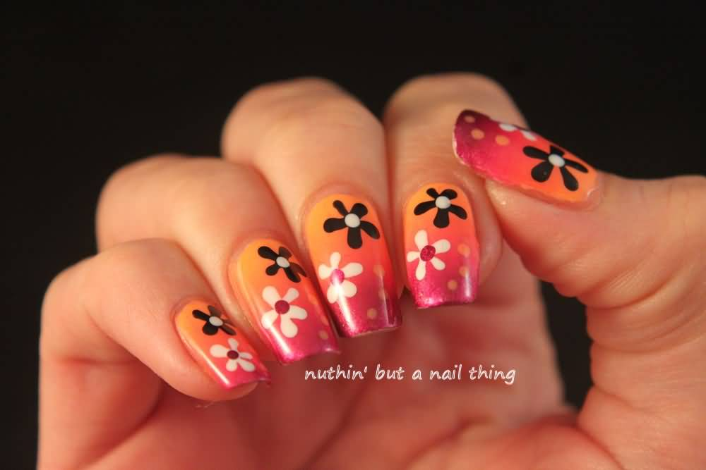 Nail Art Design Black And Orange Hession Hairdressing