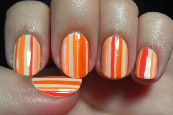 Orange And Pink Stripes Nail Art