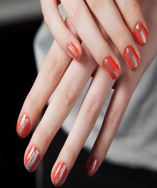 Orange And Silver Strip Design Nail Art
