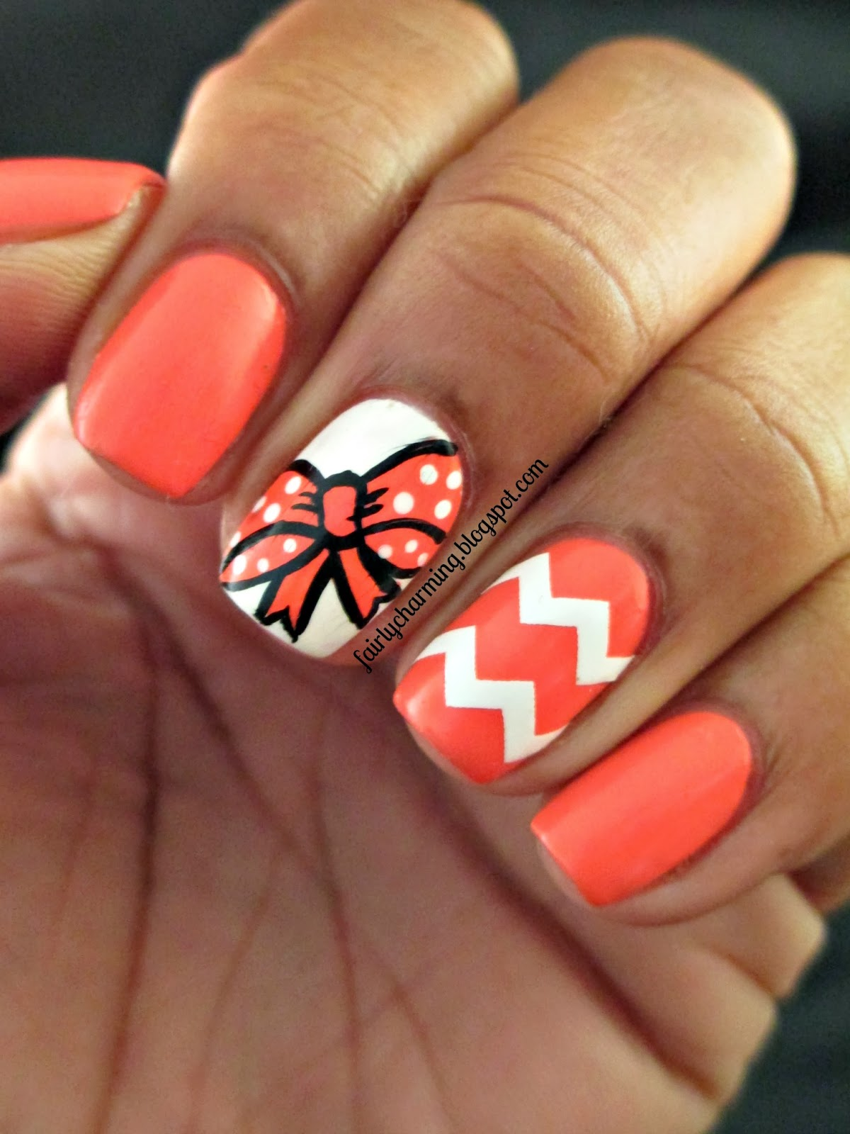 53 most adorable orange and white nail art design ideas orange and white chevron and bow design nail art prinsesfo Choice Image