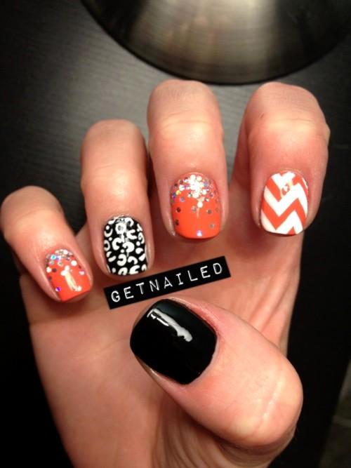 Orange And White Chevron Design Nail Art