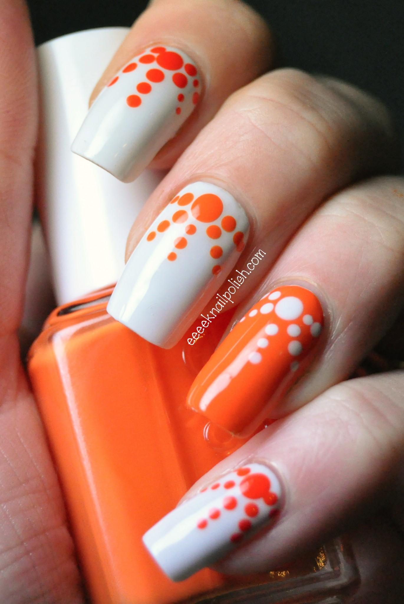 Orange And White Dots Design Nail Art