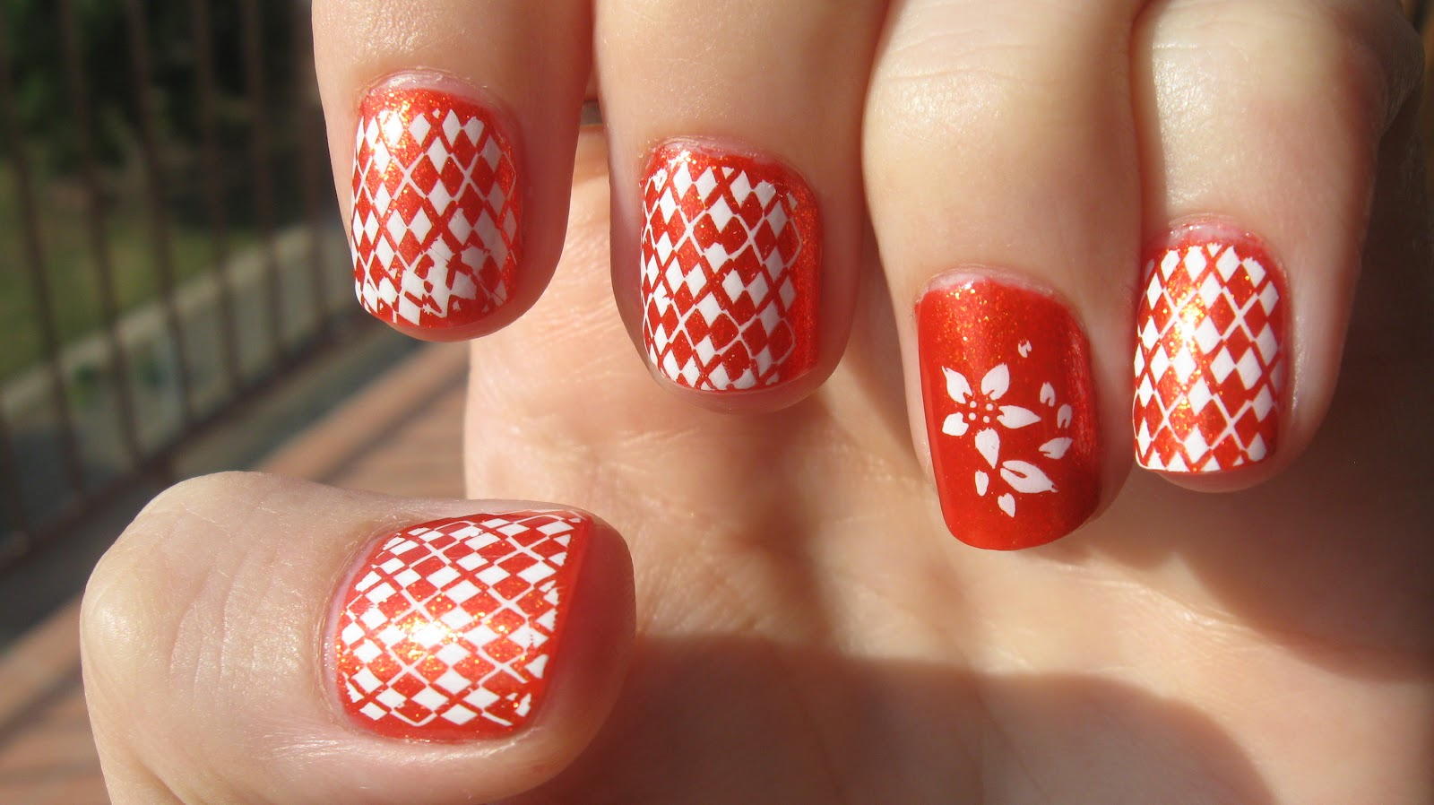 Orange And White Floral Design Nail Art