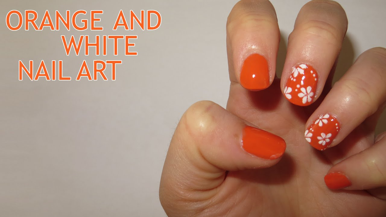Orange And White Floral Nail Art
