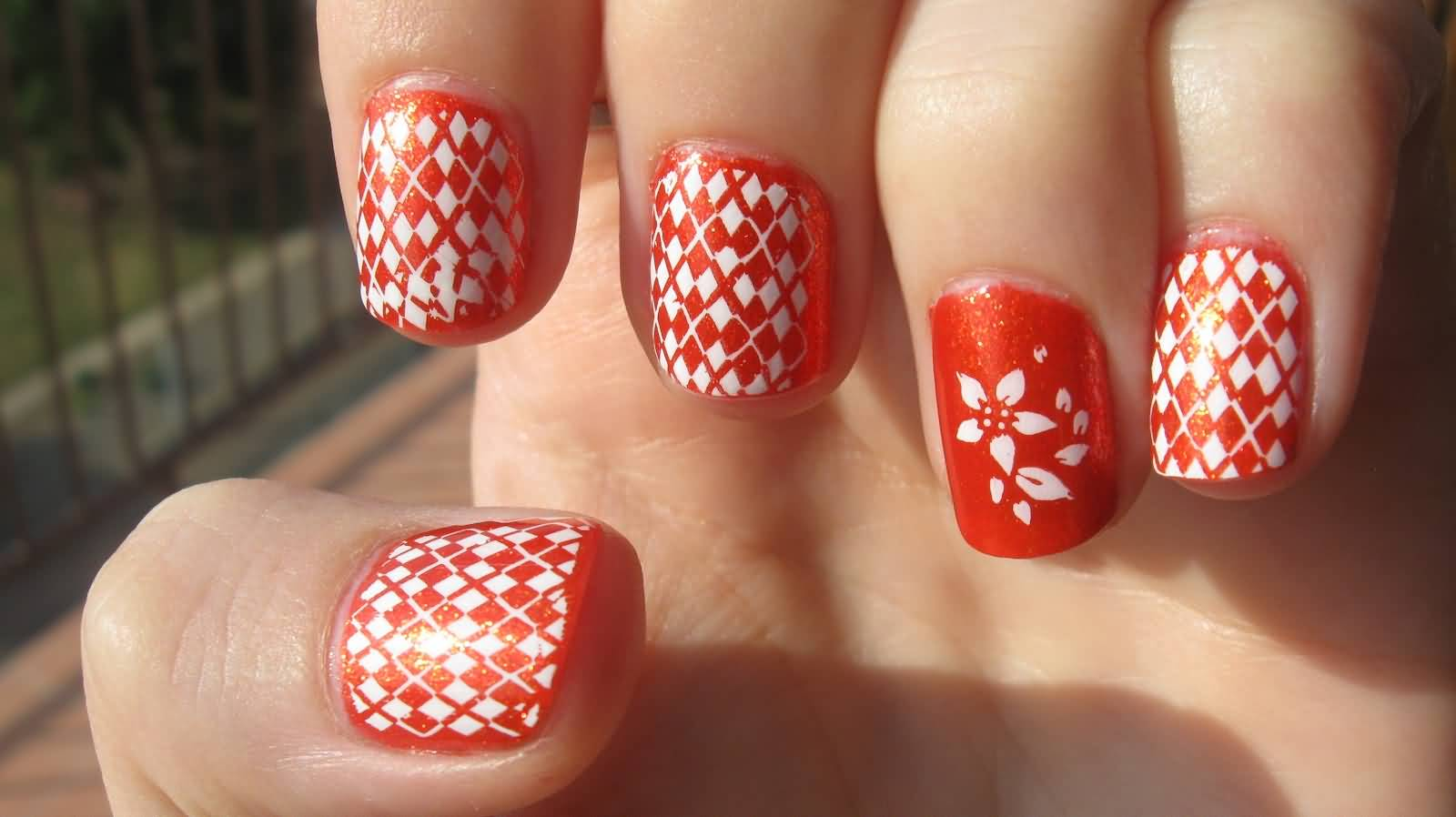 Orange And White Nail Art Design