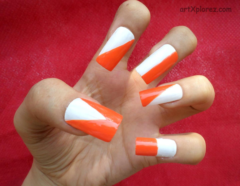 Orange And White Nail Art Design