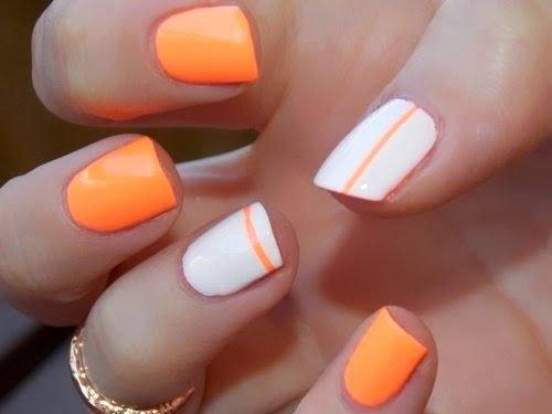 Orange And White Nail Art