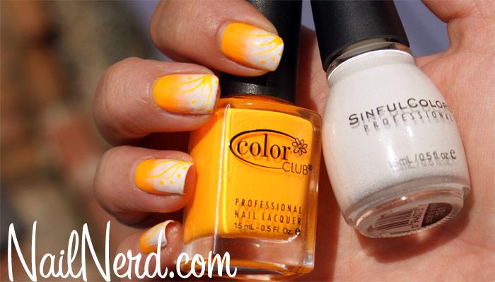 Orange And White Nail Design Idea