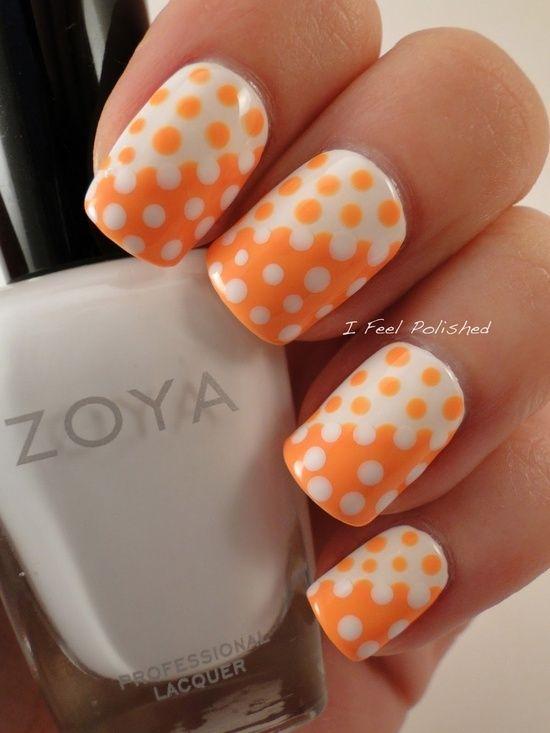 Orange And White Polka Dots Nail Art