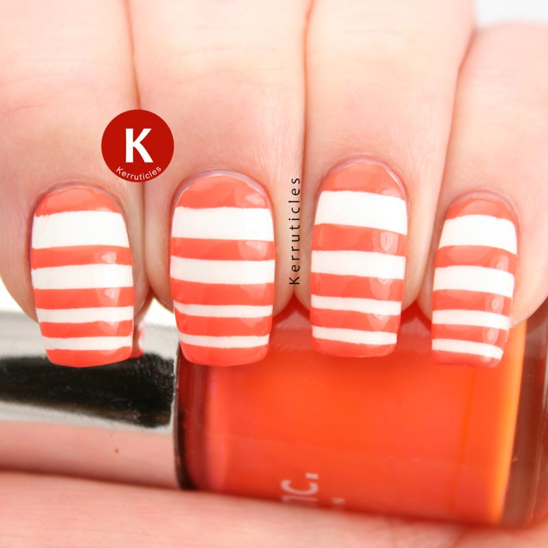 Orange And White Stripes Design Nail Art