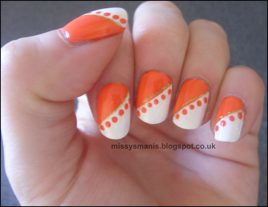 Orange And White With Gold Glitter Line Nail Art