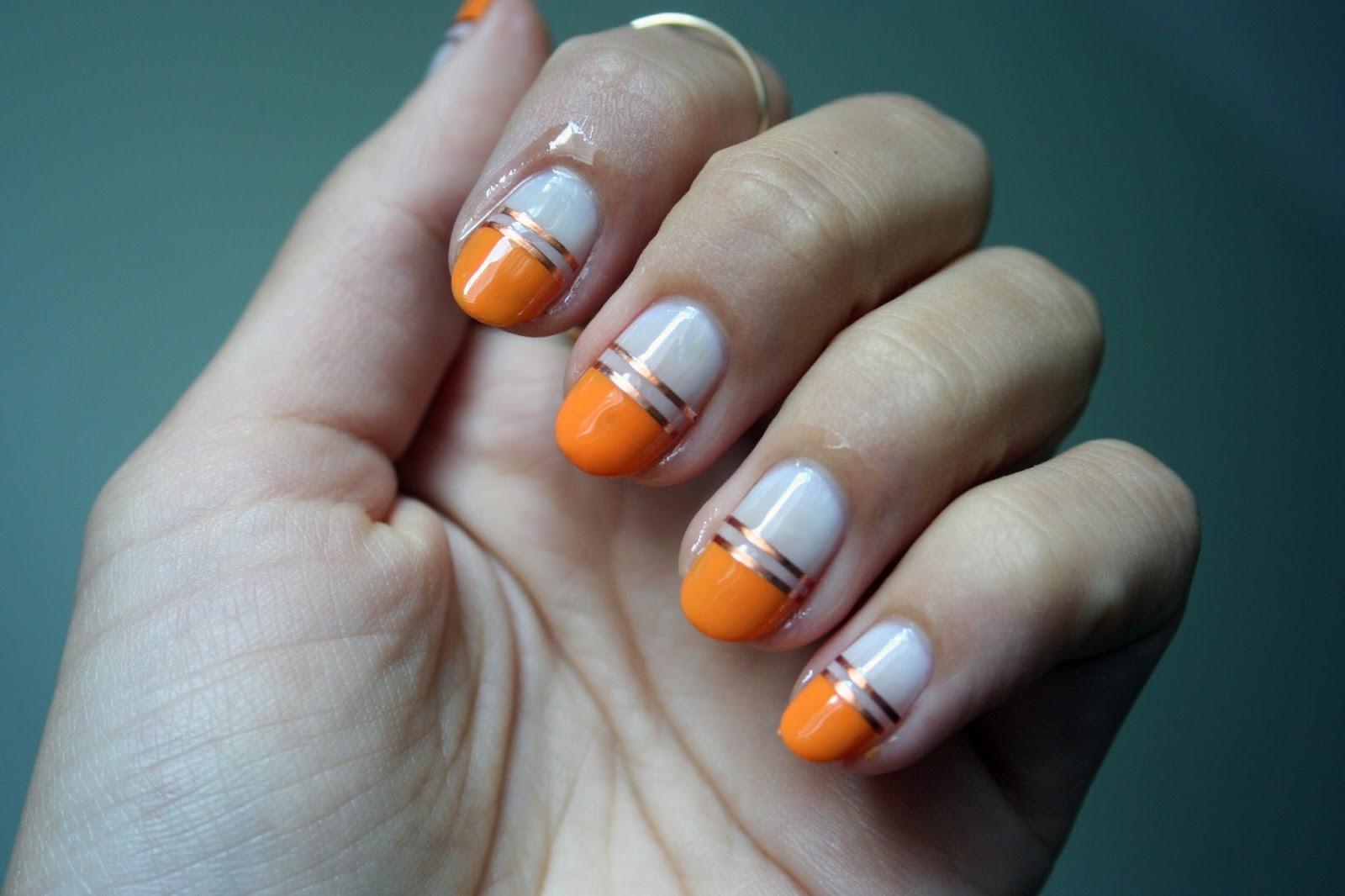 Orange And White With Metallic Stamping Tape Nail Art