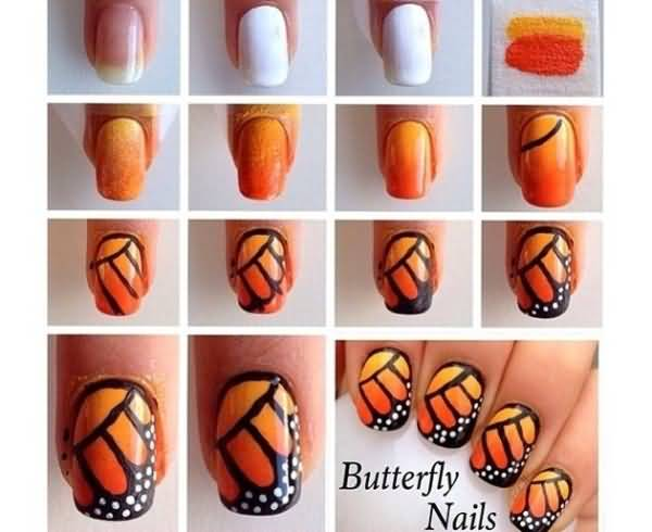 Orange And Yellow Monarch Butterfly Nail Art