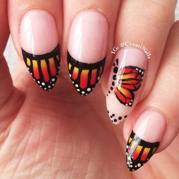Orange And Yellow Monarch Butterfly Nail Art Design