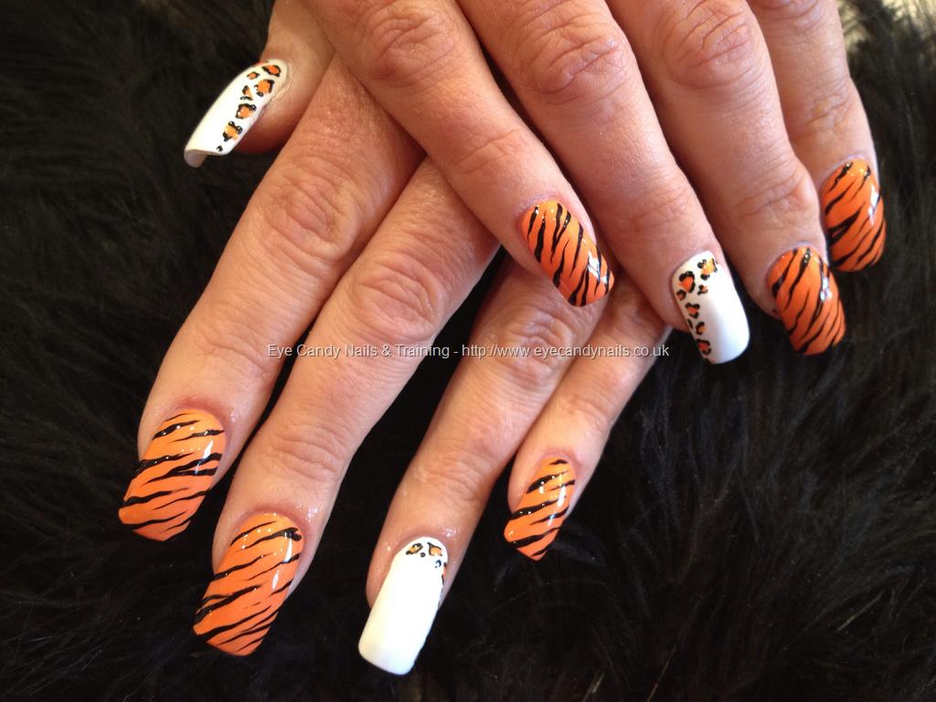 Orange Animal Print Nail Art