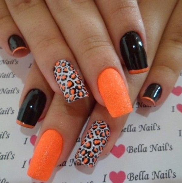 Orange Black And White Nail Art Designs