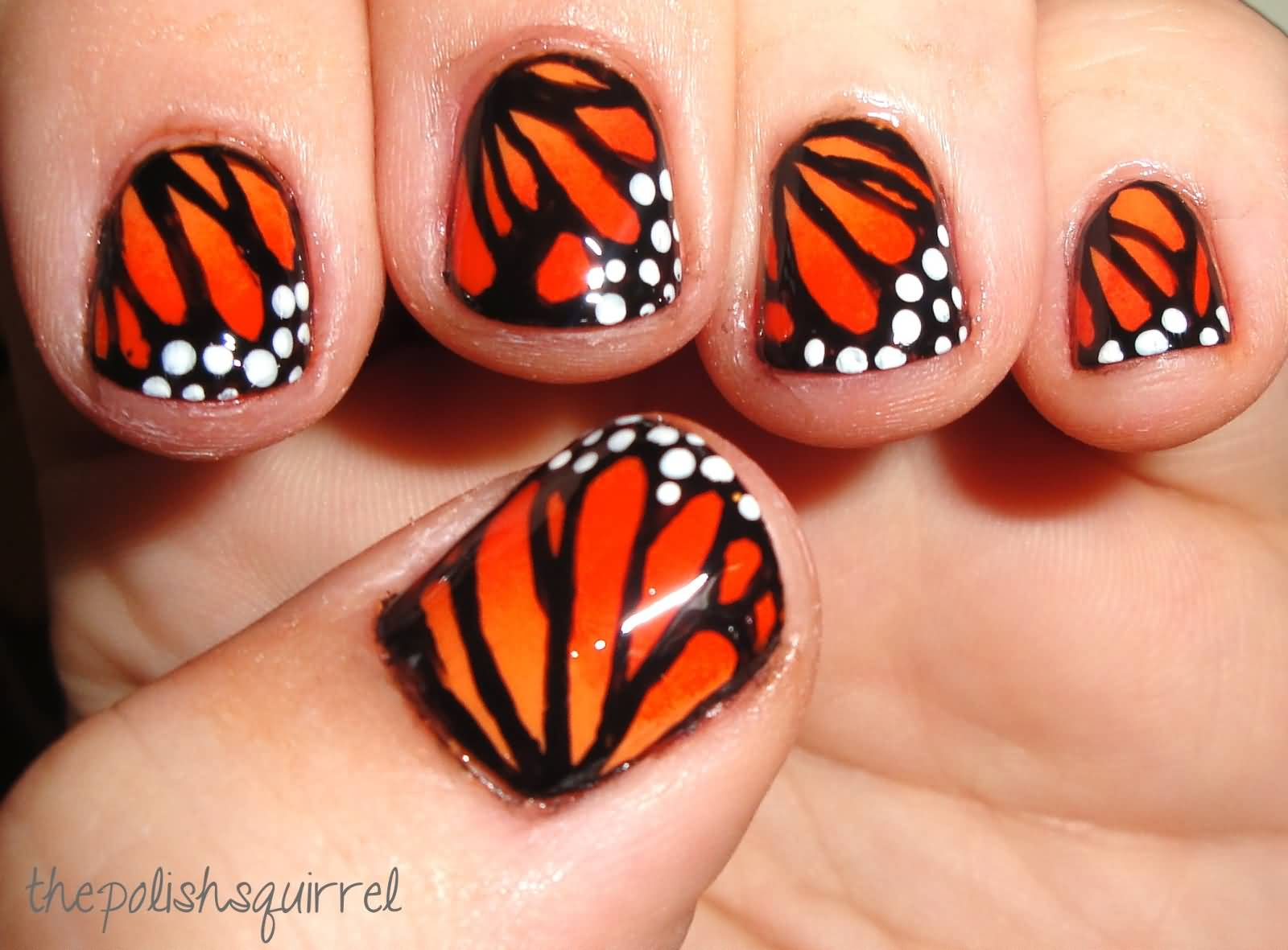 Orange Butterfly Wings Nail Art