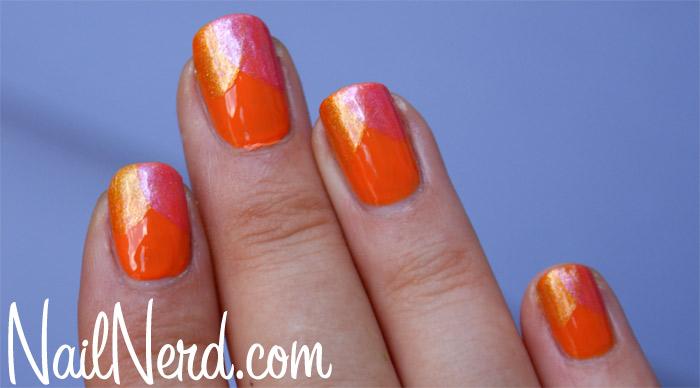 Orange Chevron Nail Art Design