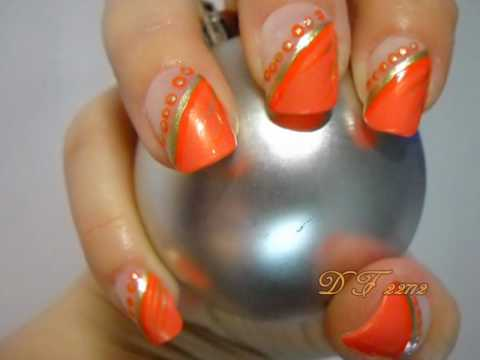 Orange Diagonal And Dots Design Nail Art With Tutorial Video - 60 Stylish Orange Nail Art Designs