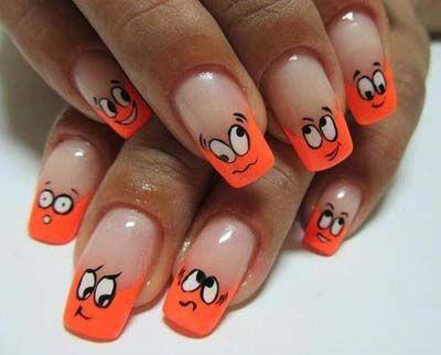 Orange Faces Nail Art Design