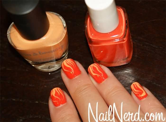 Orange Flame Nail Art Design Idea