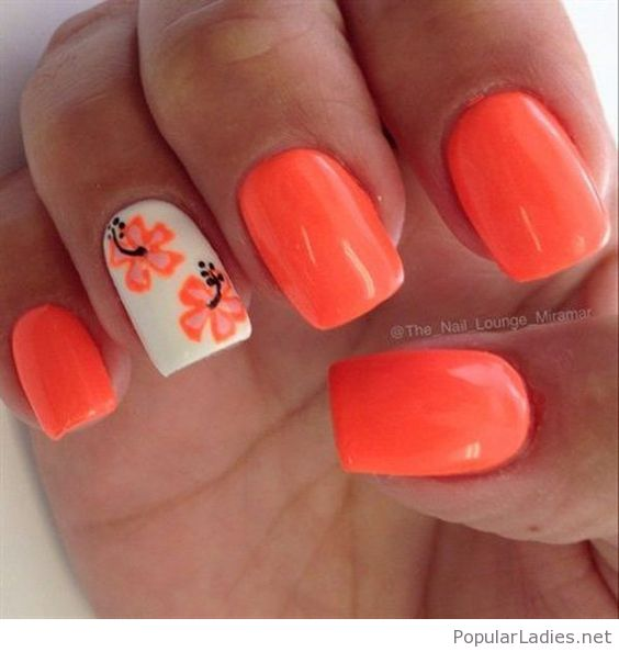 Orange Flower On White Nails