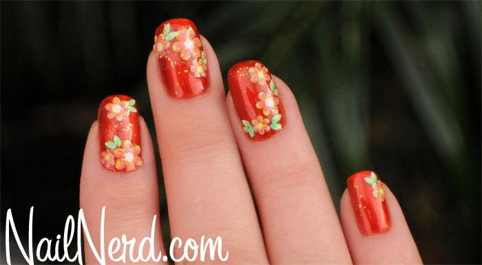 Orange Flowers Nail Art Design