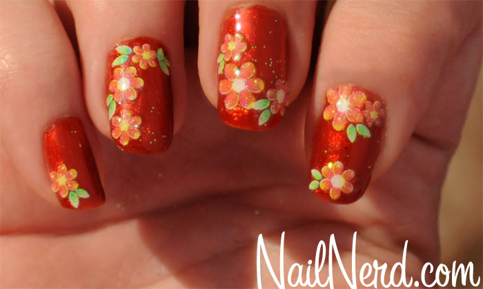 Orange Flowers Nail Art Design