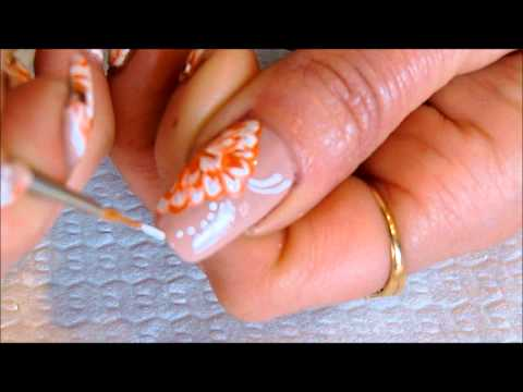 Orange One Stroke Flower Nail Art With Tutorial Video