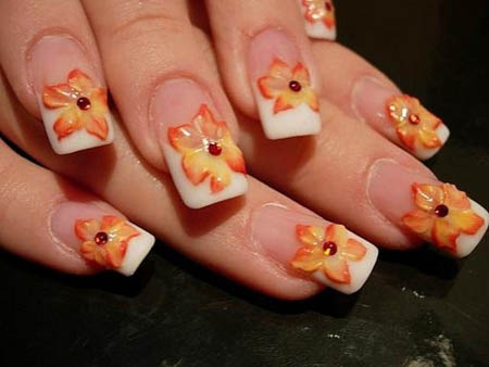 Orange Flowers On White Tip Nail Art