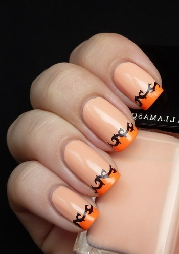 Orange French Tip And Black Design Nail Art