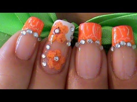 Orange French Tip Dry Flowers And Rhinestones Nail Art