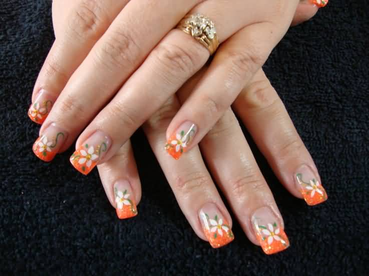 Orange French Tip With Floral Design Nail Art