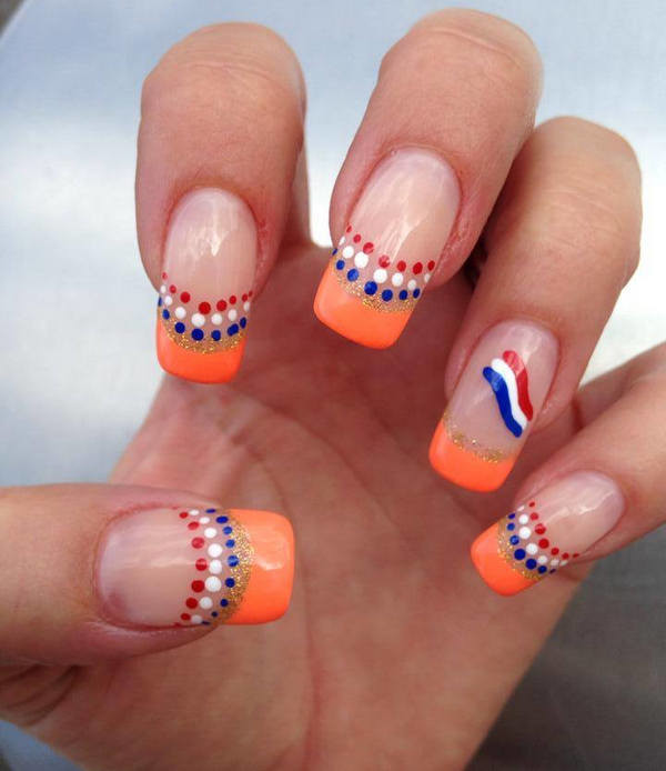 Orange French Tip With Red Blue And White Dots Nederlands Flag Nail Art