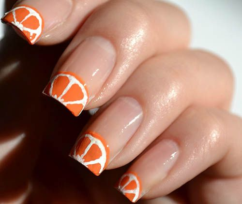 Orange Fruit French Tip Nail Art