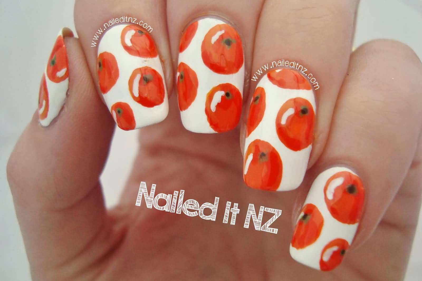 Orange Fruit In White Nails Design Idea