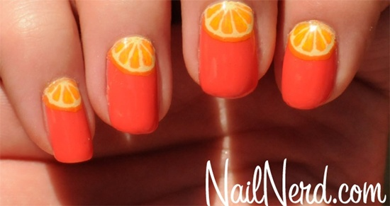 Orange Fruit Slices Nail Art