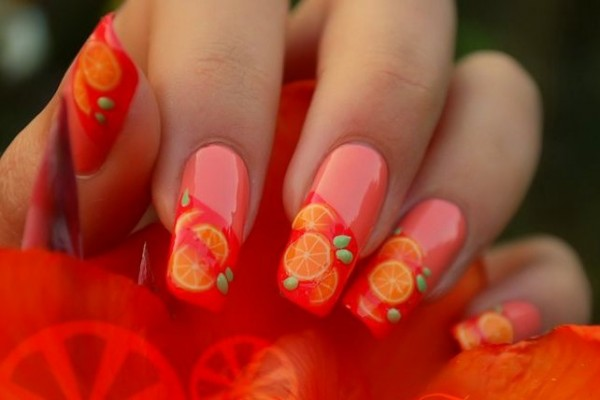 Orange Fruit Slices Nail Design Idea
