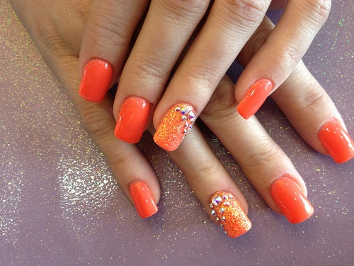 Orange Glitter And Caviar Beads Accent Nail Art