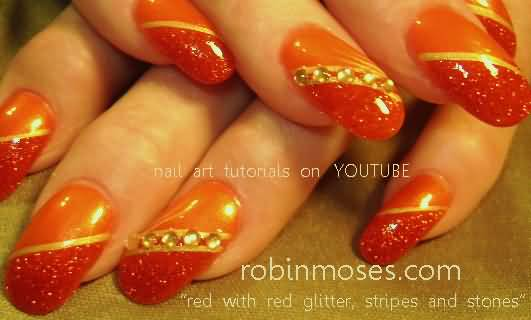 Orange Glitter And Rhinestones Design Nail Art