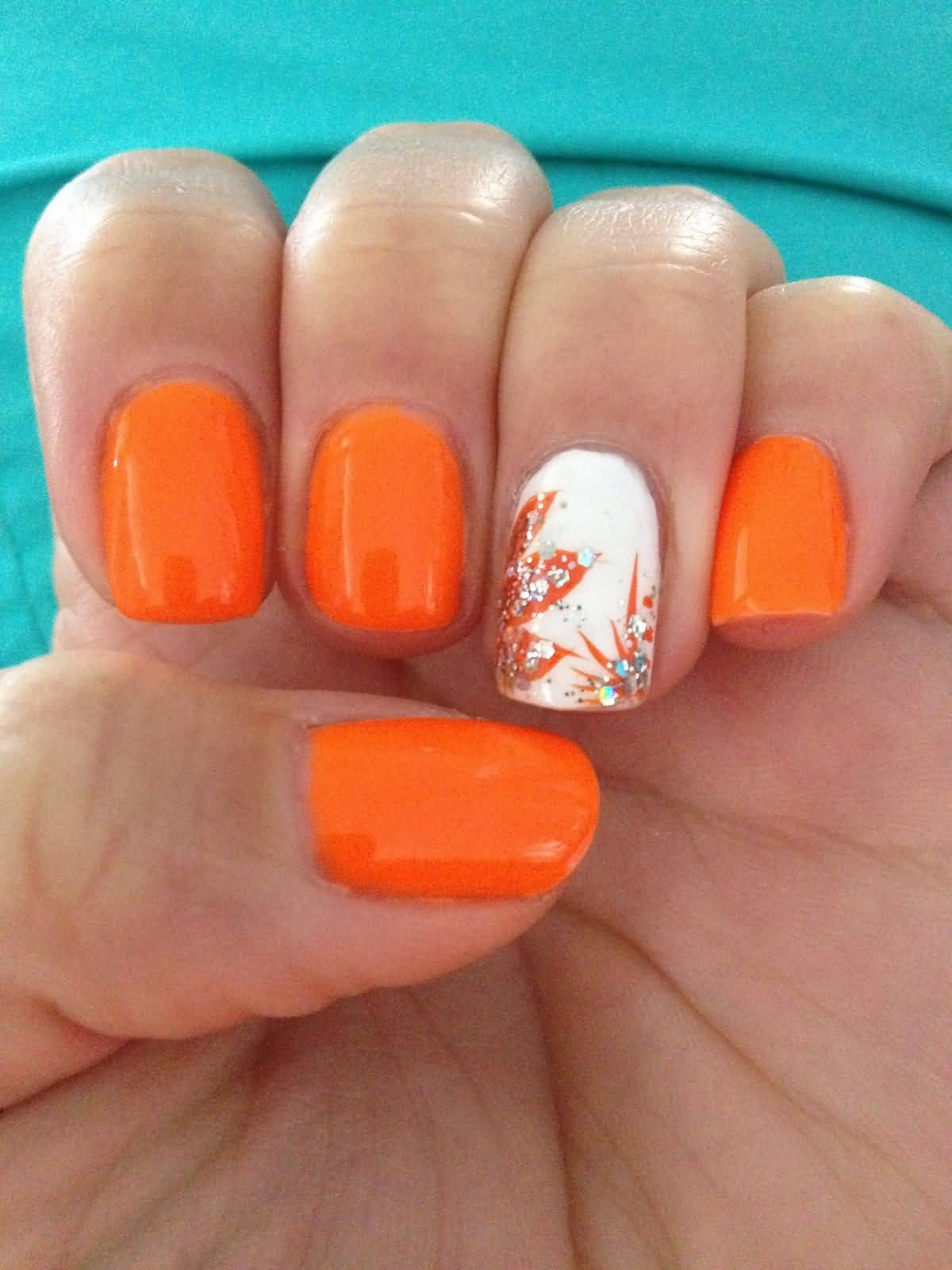 Orange Glitter Flowers On White Accent Nail Art