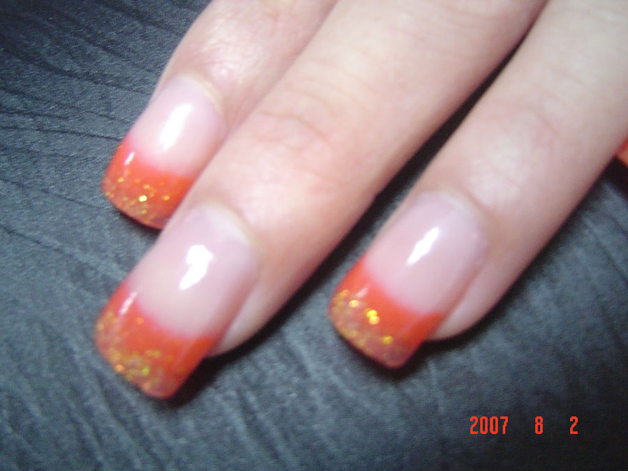 Orange Glitter French Tip Nail Art