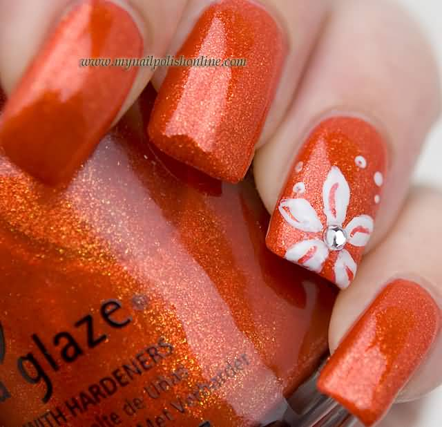 Orange Glitter Gel Accent Nails With Whit Floral Nail Art