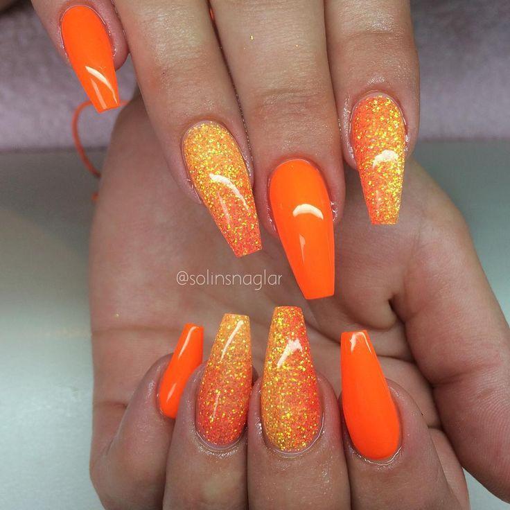 Orange Glitter Gel Nail Art