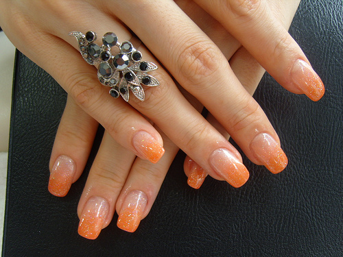 Orange Glitter Gel Tip Nail Art