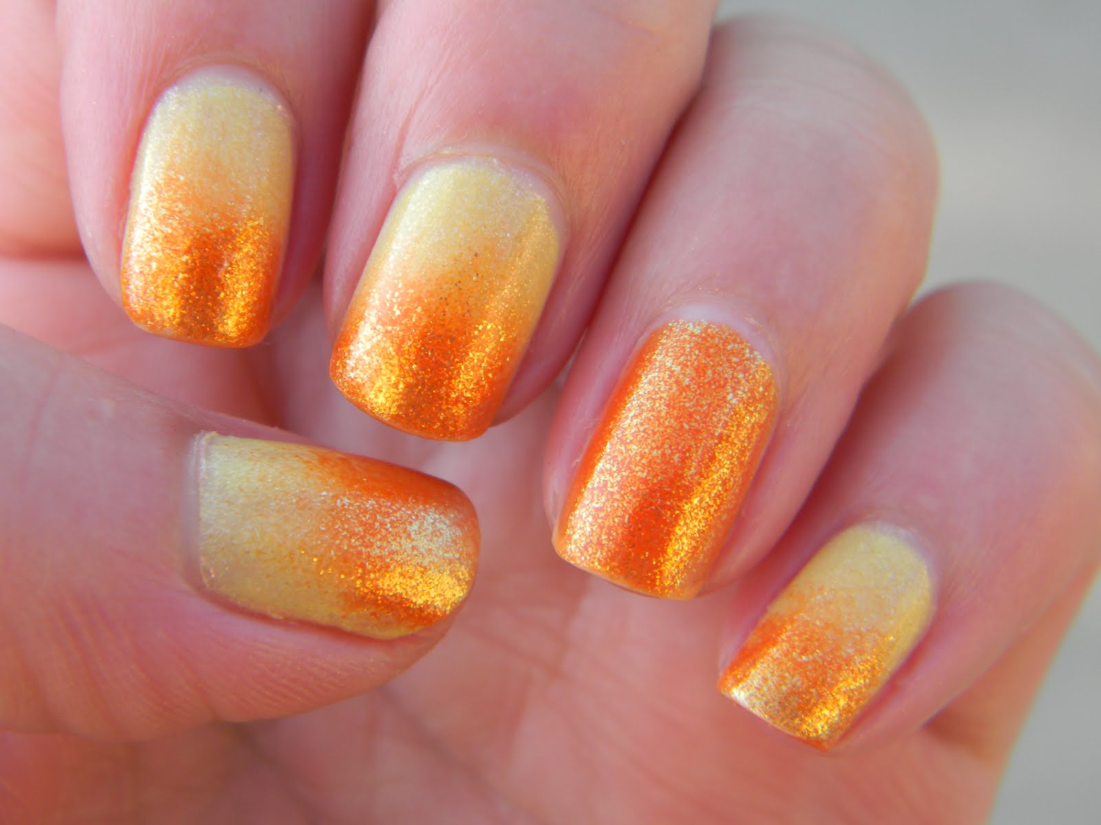 Orange Glitter Gradient Nail Art
