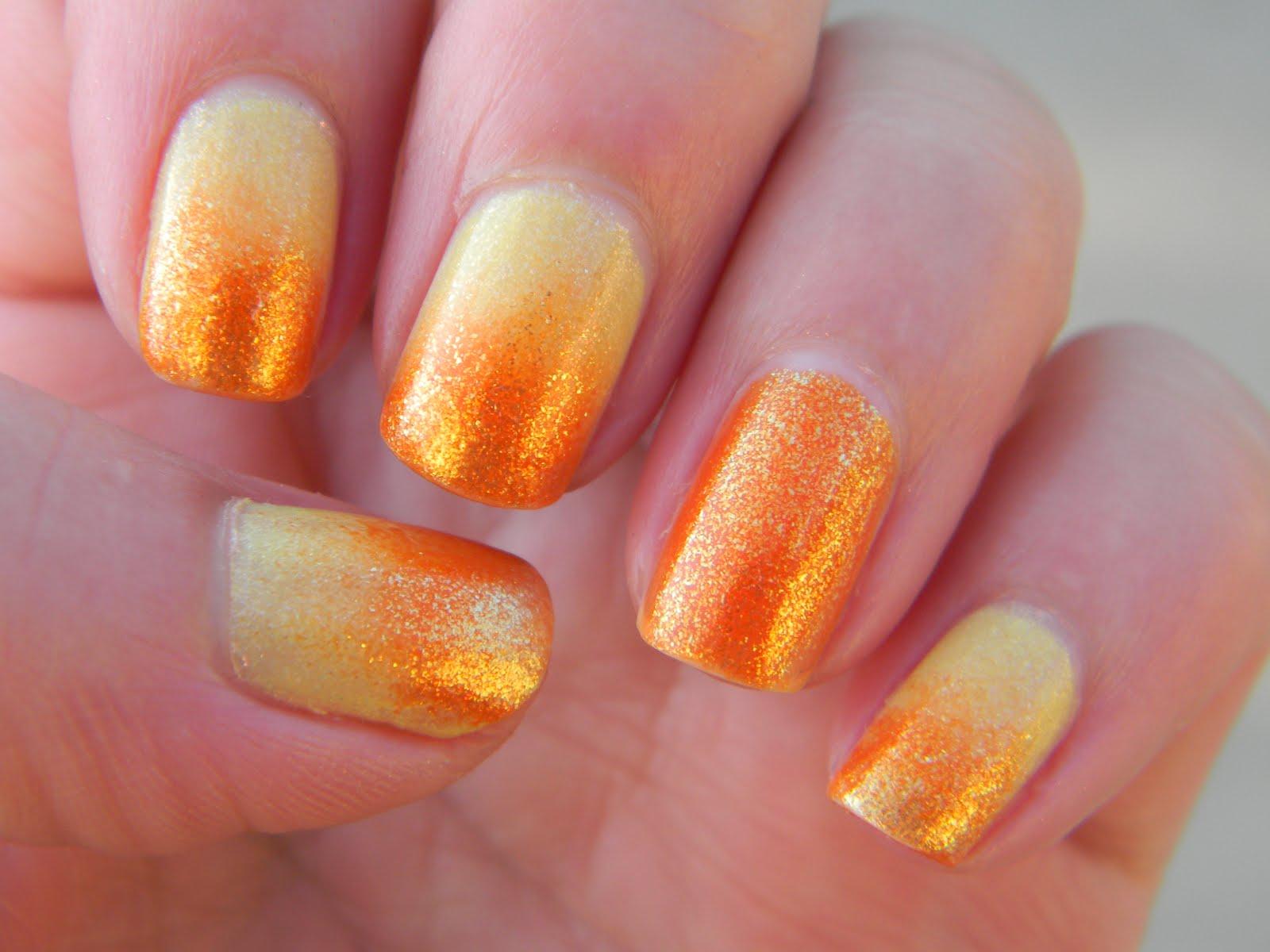 Orange Glitter Gradient Nail Art