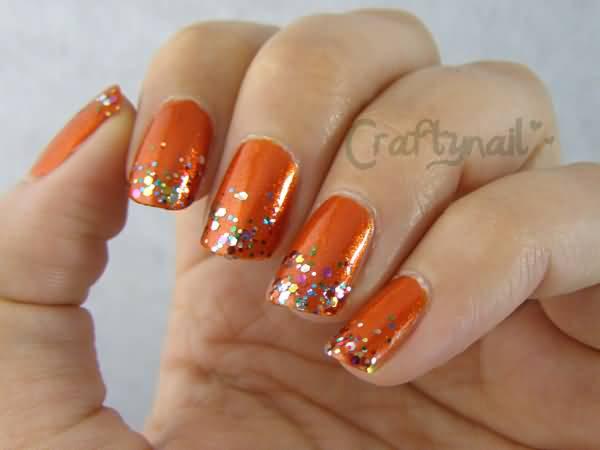 Orange Glitter Nail Art Design Idea